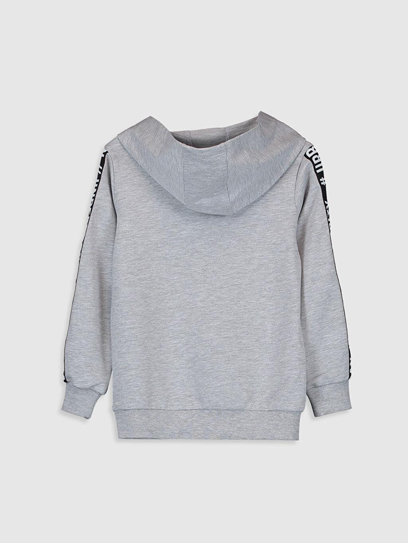%59 Pamuk %41 Polyester Kapüşon Yaka İki İplik Sweatshirt Düz Erkek Çocuk Yazı Baskılı Kapüşonlu Sweatshirt