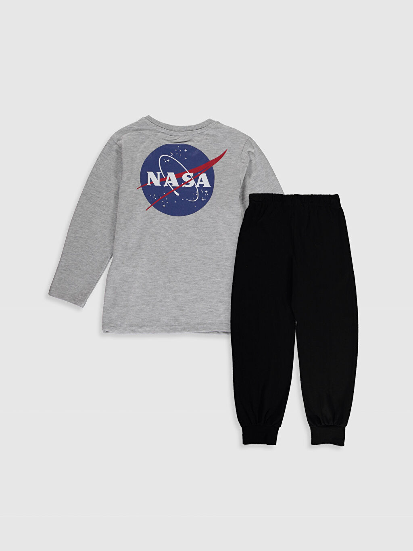 %50 Pamuk %50 Polyester Günlük Penye Standart Pijama Takım Erkek Çocuk Nasa Baskılı Pijama Takımı