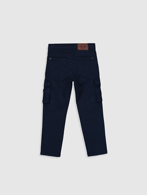 %97 Pamuk %3 Elastan Normal Bel Astarsız Dar Pantolon Kargo Aksesuarsız Düz Gabardin Erkek Çocuk Slim Kargo Pantolon