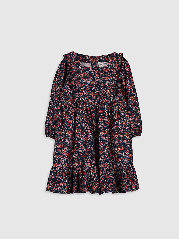 Lacivert Kız Çocuk Desenli Flanel Elbise 9WS455Z4 LC Waikiki