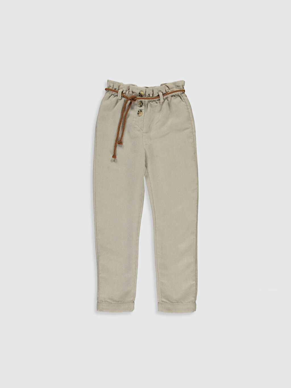 Ekru Kız Çocuk Kadife Pantolon 9WS802Z4 LC Waikiki