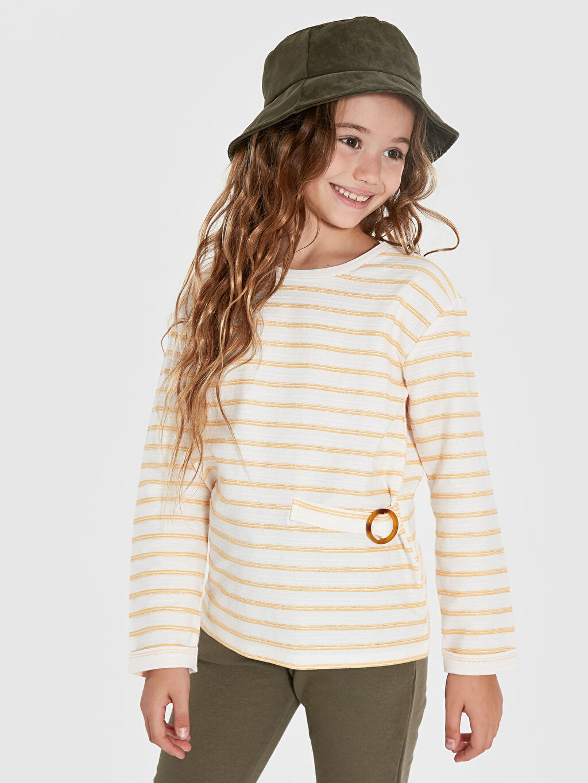 Sarı Kız Çocuk Çizgili Sweatshirt 9WS809Z4 LC Waikiki