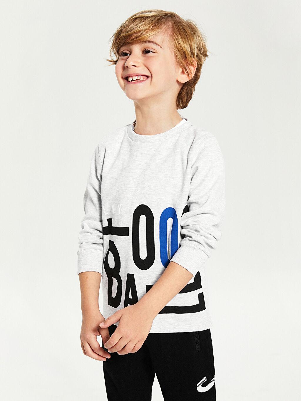 %68 Pamuk %32 Polyester Tişört Bisiklet Yaka İnterlok Uzun Kol Standart Baskılı Erkek Çocuk Baskılı Uzun Kollu Tişört