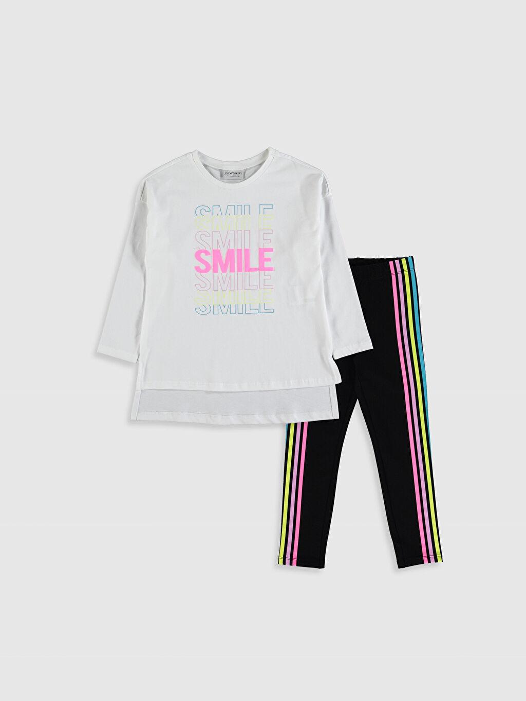 Beyaz Kız Çocuk Pamuklu Tişört ve Tayt 9WT710Z4 LC Waikiki