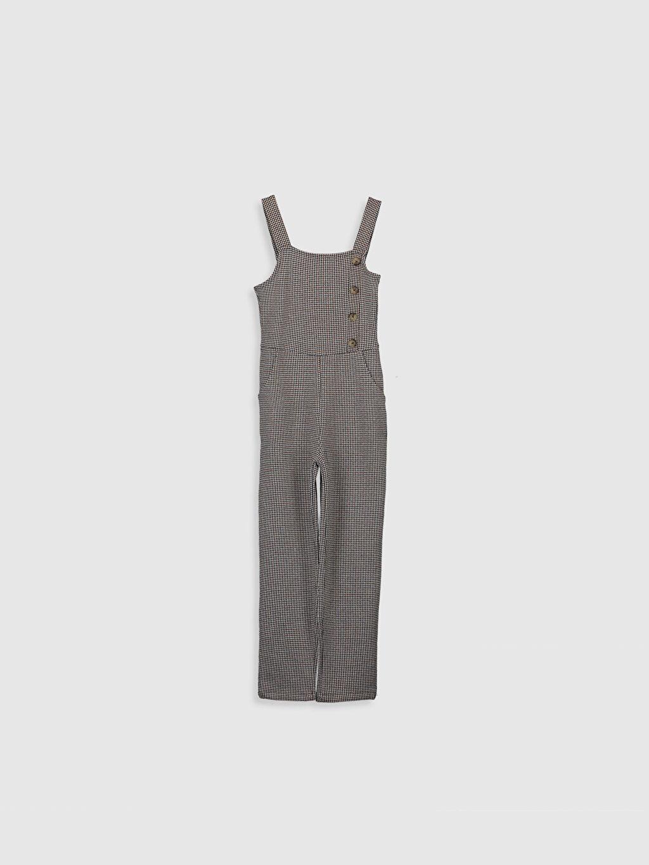 %68 Polyester %31 Viskoz %1 Elastan Baskılı Salopet Elbise Midi Standart Normal Bel Tulum Kız Çocuk Düğme Detaylı Tulum