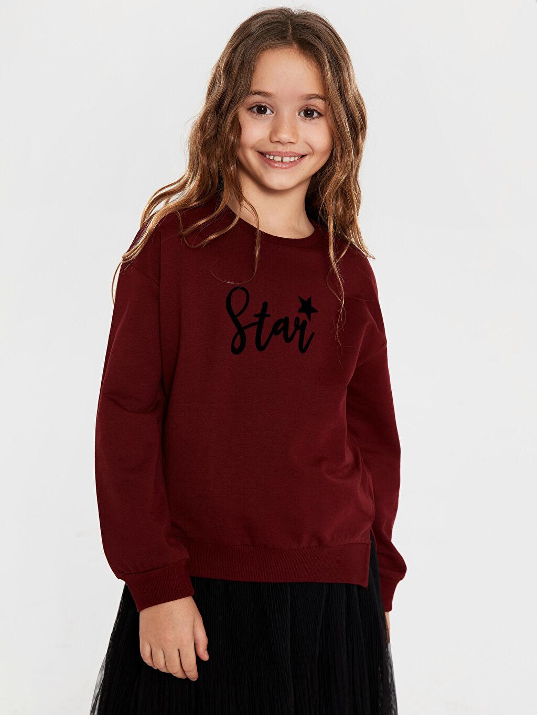 Bordo Kız Çocuk Yazı Baskılı Sweatshirt 9WU434Z4 LC Waikiki