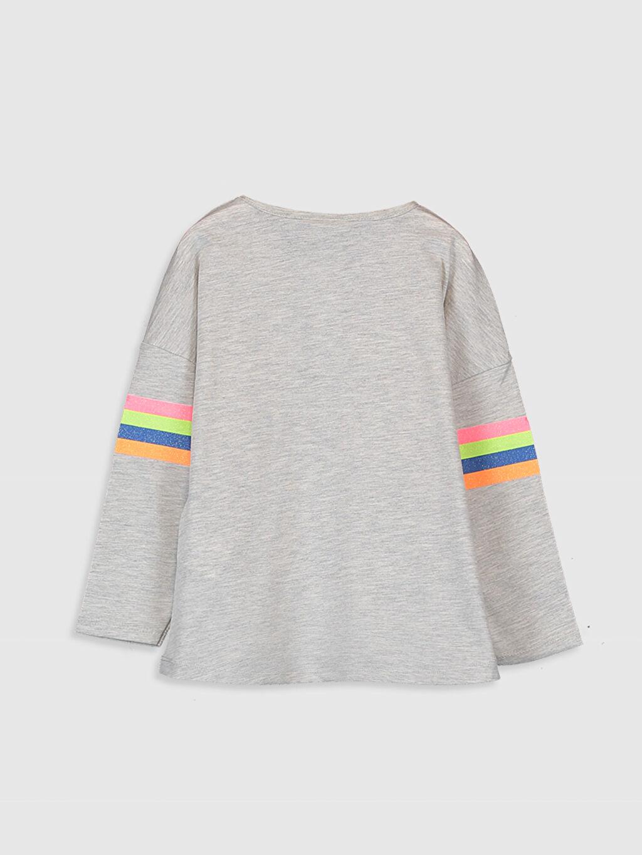 %61 Pamuk %39 Polyester Bisiklet Yaka Uzun Kol Penye Standart Baskılı Tişört Kız Çocuk Yazı Baskılı Uzun Kollu Tişört