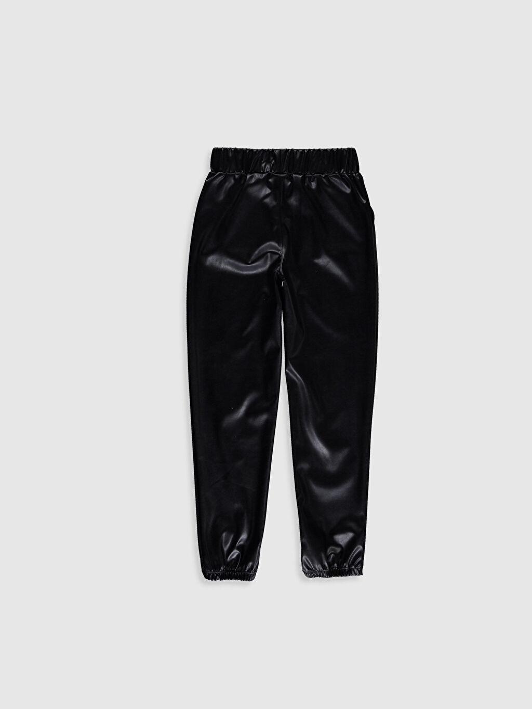%100 Polyester Kolsuz Eşofman Altı Düz Kız Çocuk Deri Görünümlü Pantolon
