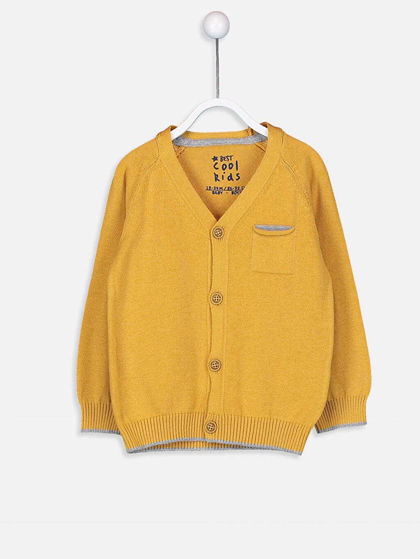 Sarı Erkek Bebek V Yaka Triko Hırka 9W0506Z1 LC Waikiki