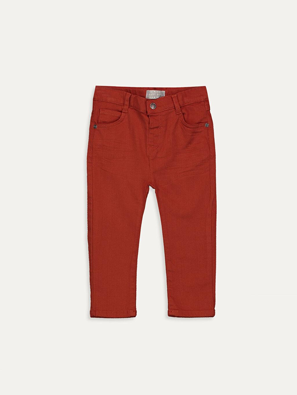 Kahverengi Erkek Bebek Slim Fıt Gabardin Pantolon 9W1359Z1 LC Waikiki