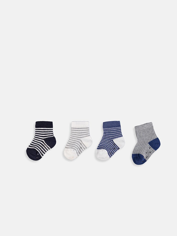 %76 Pamuk %22 Poliamid %2 Elastan Dikişli Çizgili Soket Çorap Günlük Orta Kalınlık Erkek Bebek Soket Çorap 4'lü
