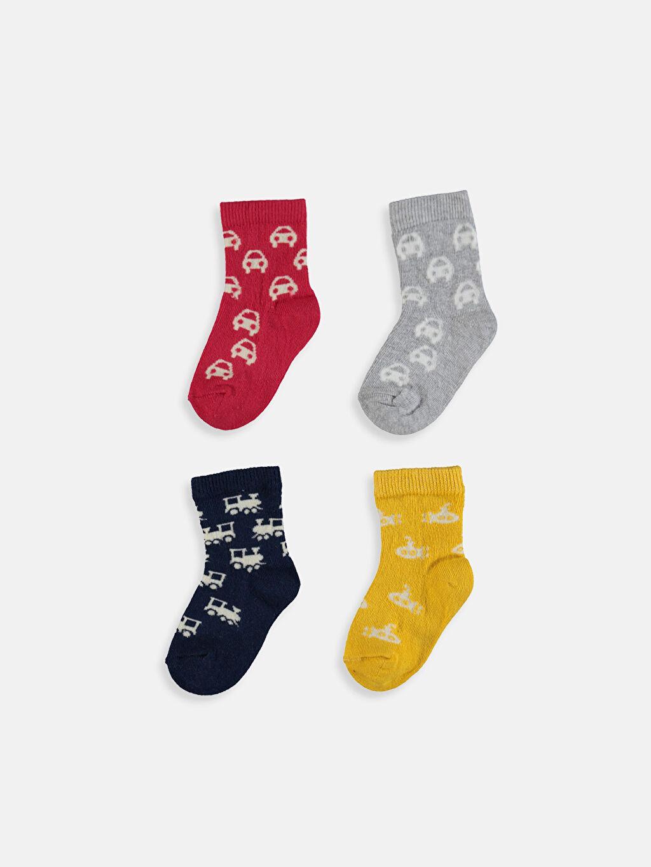 %77 Pamuk %21 Poliamid %2 Elastan Dikişli Soket Çorap Baskılı Günlük Orta Kalınlık Erkek Bebek Desenli Soket Çorap 4'lü