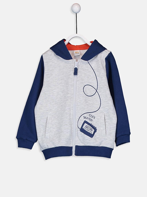 Bej Erkek Bebek Kapüşonlu Fermuarlı Sweatshirt 9W2246Z1 LC Waikiki