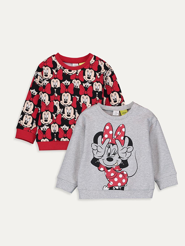 Kırmızı Kız Bebek Minnie Mouse Baskılı Tişört 2'li 9W4031Z1 LC Waikiki