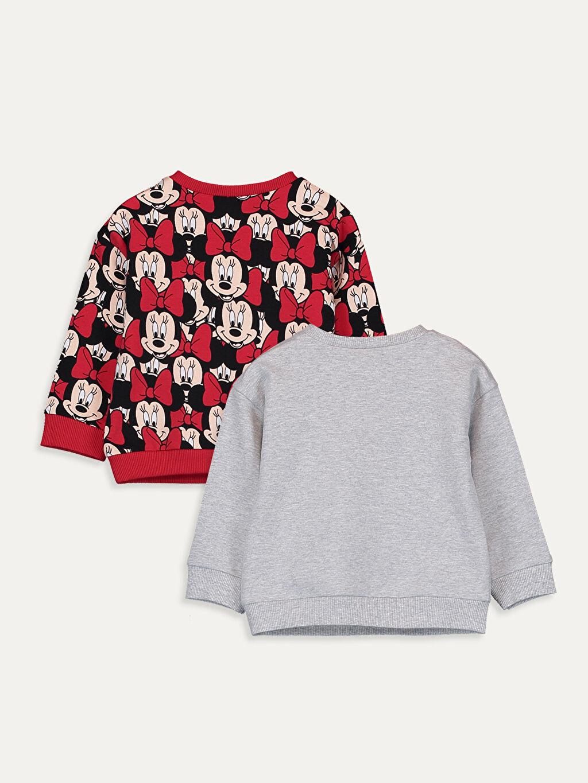 %96 Pamuk %4 Elastan Çıtçıtlı Body Bisiklet Yaka İnce Sweatshirt Kumaşı Kız Bebek Minnie Mouse Baskılı Tişört 2'li