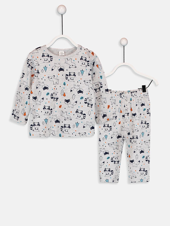 Gri Erkek Bebek Desenli Pijama Takımı 9W4131Z1 LC Waikiki