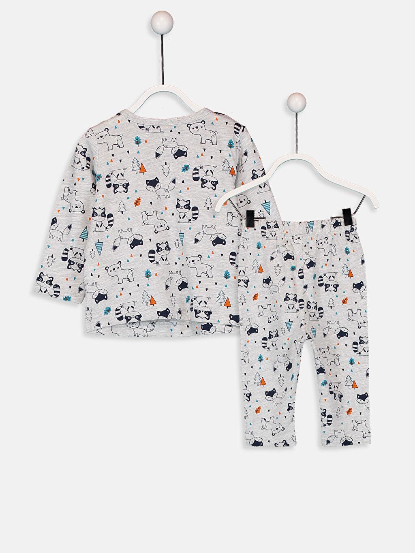 %98 Pamuk %2 Polyester %98 Pamuk %2 Polyester Penye Standart Pijama Takım Erkek Bebek Desenli Pijama Takımı