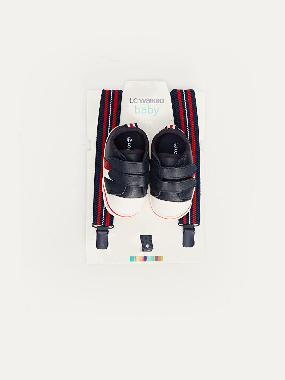 Lacivert Erkek Bebek Cırt Cırtlı Ayakkabı ve Pantolon Askısı 9W4160Z1 LC Waikiki