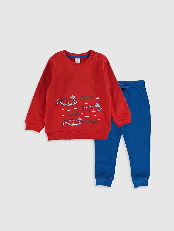 Kırmızı Erkek Bebek Desenli Sweatshirt ve Pantolon 9W5753Z1 LC Waikiki