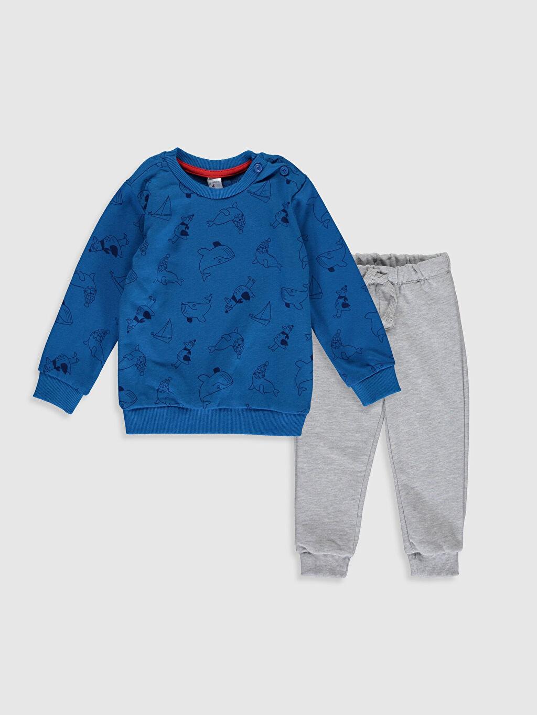 Lacivert Erkek Bebek Pamuklu Swearshirt ve Pantolon 9W5754Z1 LC Waikiki