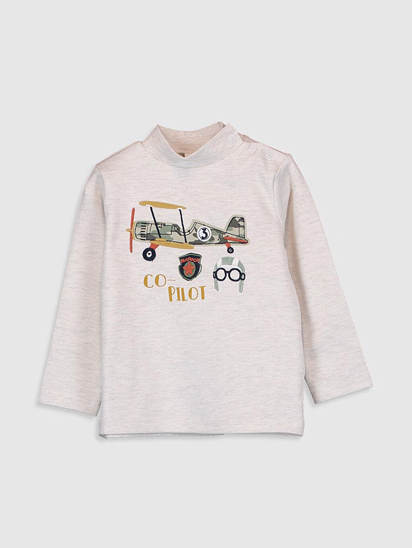 %47 Pamuk %53 Polyester Günlük Uzun Kol Penye Diğer Aksesuarsız Standart Baskılı Tişört Erkek Bebek Desenli Tişört