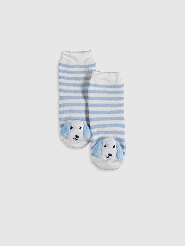 Mavi Erkek Bebek Çizgili Aplikeli Ev Çorabı 9W6444Z1 LC Waikiki