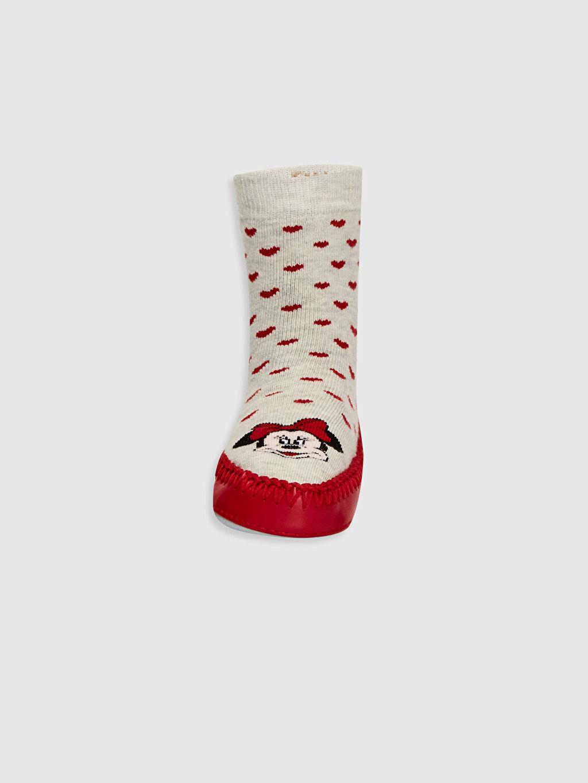 %54 Pamuk %27 Poliester %17 Poliamid %2 Elastane Dikişli Baskılı Ev Çorabı Kalın Casual/Günlük Kız Bebek Minnie Mouse Baskılı Ev Çorabı