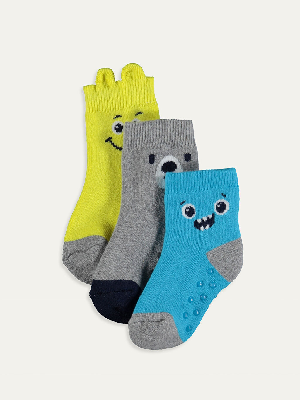 Çok Renkli Erkek Bebek Desenli Soket Çorap 3'lü 9W7049Z1 LC Waikiki