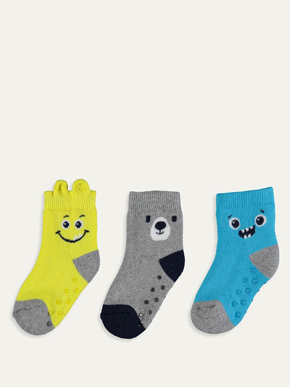 %88 Pamuk %11 Poliamid %1 Elastan Kalın Soket Çorap Baskılı Günlük Dikişli Erkek Bebek Desenli Soket Çorap 3'lü