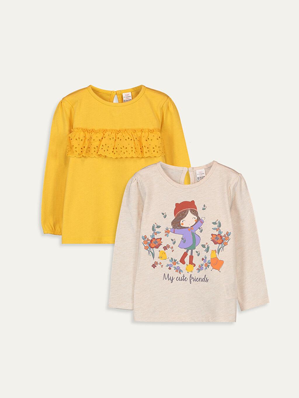 Sarı Kız Bebek Tişört 2'li 9W7101Z1 LC Waikiki