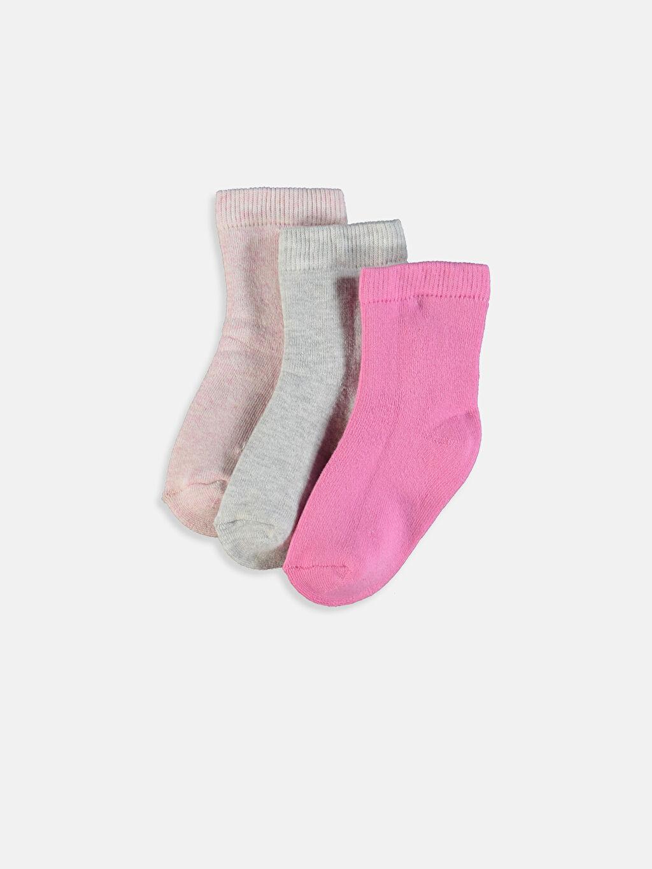 Pembe Kız Bebek Soket Çorap 3'lü 9W7166Z1 LC Waikiki