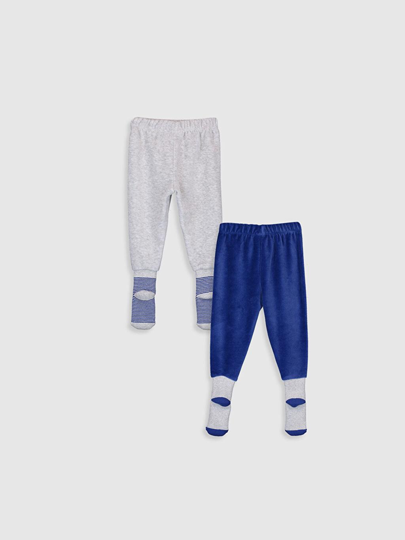 %78 Pamuk %22 Polyester Kadife Standart Pijama Alt Erkek Bebek Kadife Çoraplı Pijama Alt 2'li
