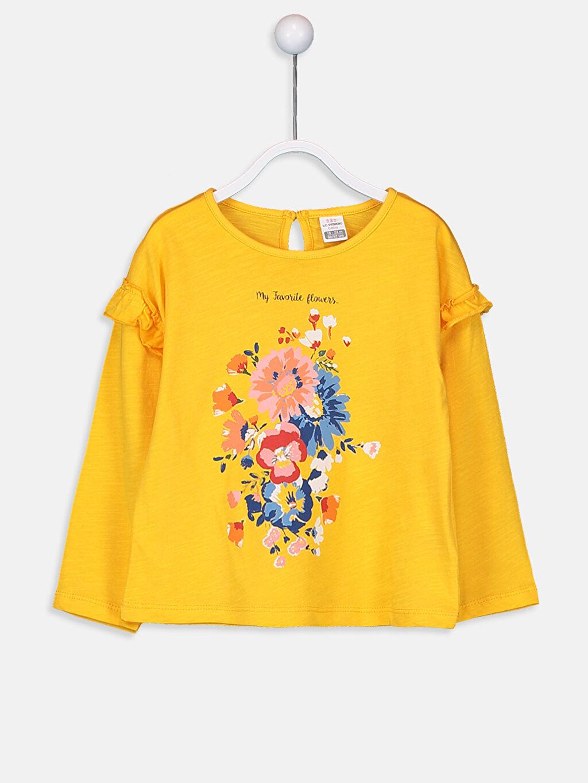 Turuncu Kız Bebek Çiçek Baskılı Pamuklu Tişört 9W7213Z1 LC Waikiki
