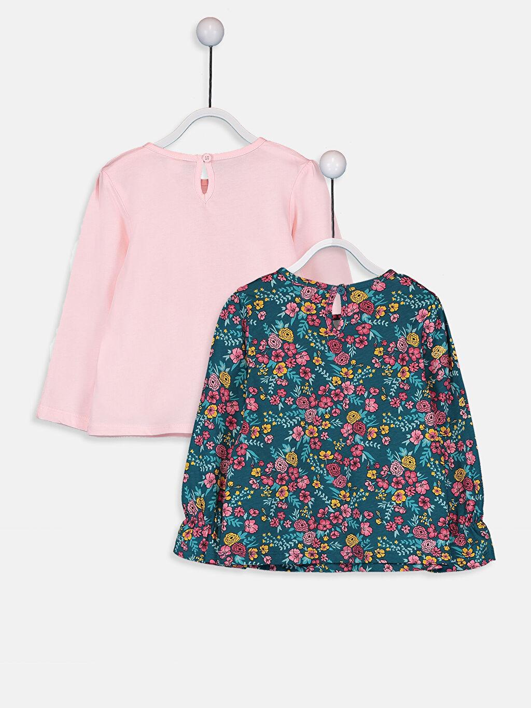%100 Pamuk %100 Pamuk Baskılı Tişört Bisiklet Yaka Uzun Kol Penye Kız Bebek Baskılı Pamuklu Tişört 2'li
