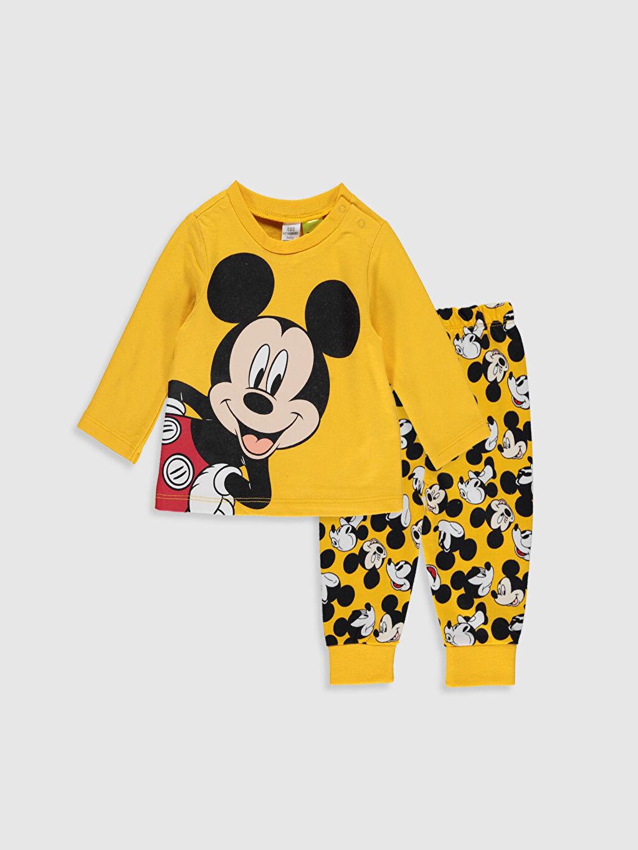 Turuncu Erkek Bebek Mickey Mouse Baskılı Pijama Takımı 9W8276Z1 LC Waikiki
