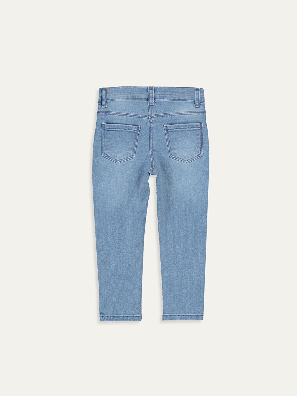 %90 Pamuk %8 Polyester %2 Elastan Dar Jean Düz Standart Normal Bel Astarsız Kız Bebek Nakışlı Jean Pantolon