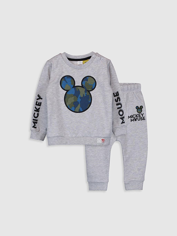 Gri Erkek Bebek Mickey Mouse Baskılı Sweatshirt ve Pantolon 9W8607Z1 LC Waikiki