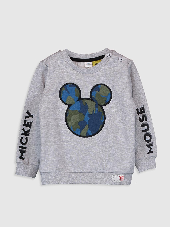 Erkek Bebek Erkek Bebek Mickey Mouse Baskılı Sweatshirt ve Pantolon