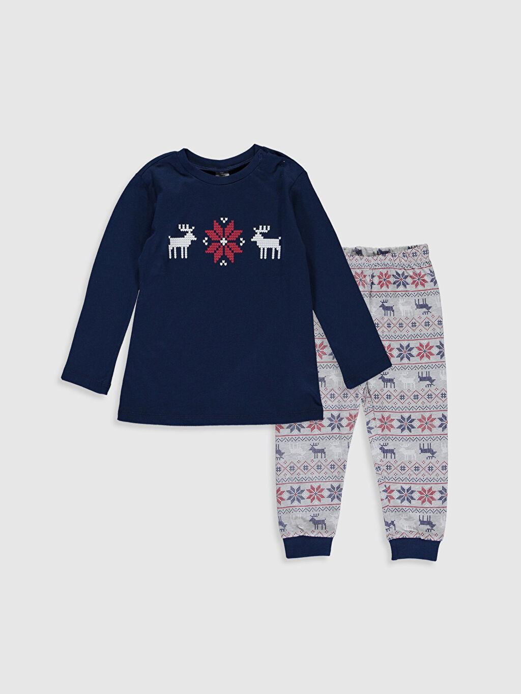 Lacivert Erkek Bebek Baskılı Pamuklu Pijama Takımı 9W8641Z1 LC Waikiki