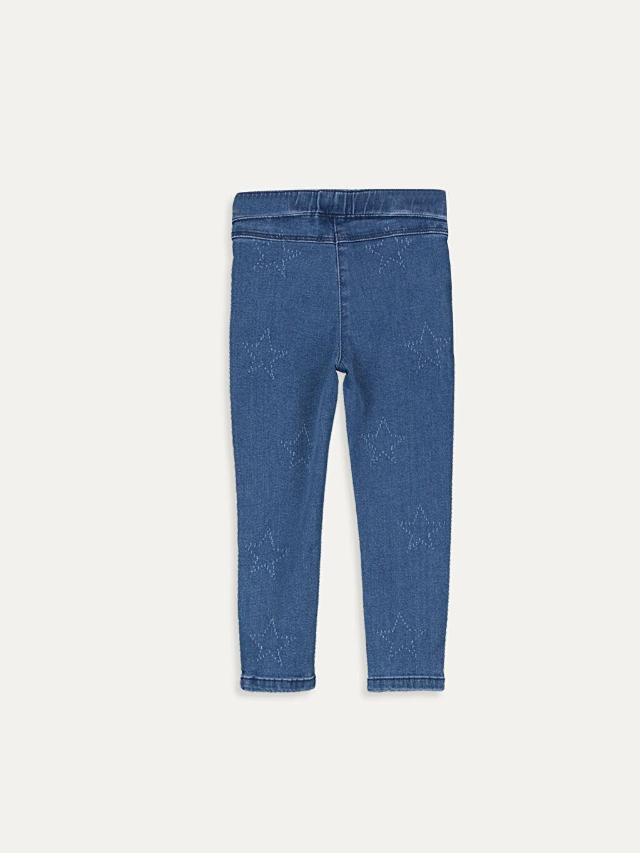 %90 Pamuk %7 Polyester %3 Elastan Jean Düz Standart Standart Normal Bel Astarsız Kız Bebek Desenli Jean Pantolon