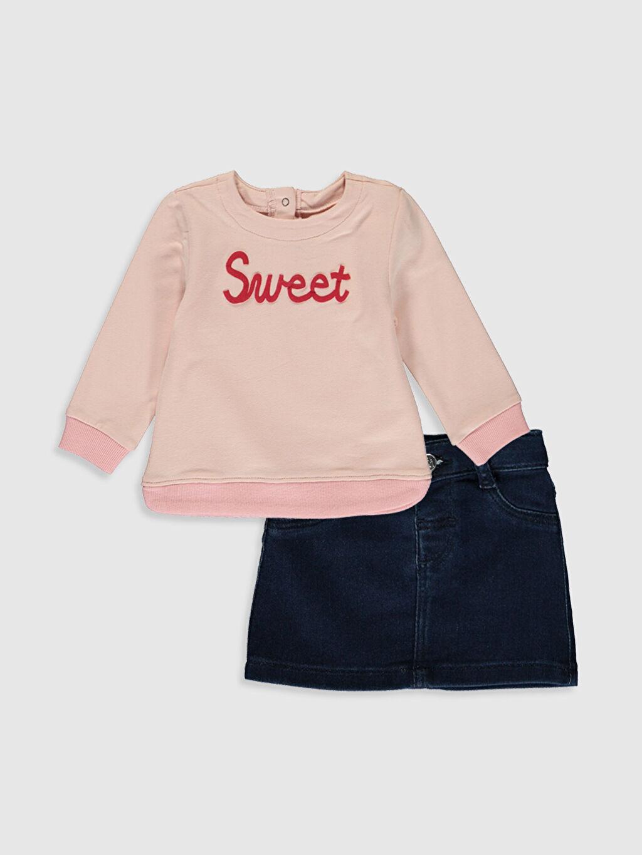 Pembe Kız Bebek Sweatshirt ve Etek Takım 9W8920Z1 LC Waikiki