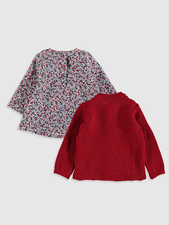 %100 Pamuk %96 Akrilik %2 Polyester %2 Metalik iplik %100 Pamuk Elbise Kız Bebek Desenli Elbise ve Triko Hırka