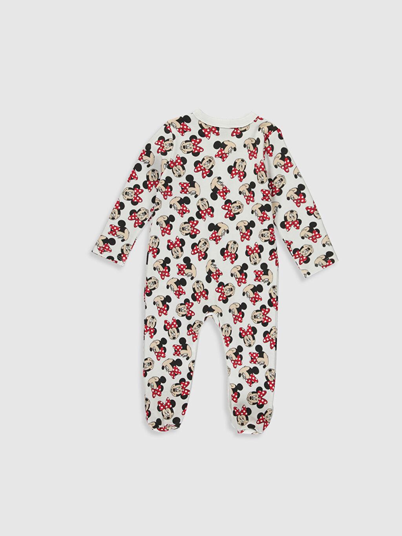 %100 Pamuk %100 Pamuk Tulum 0-12 Ay Patikli İnterlok Kız Bebek Minnie Mouse Baskılı Tulum