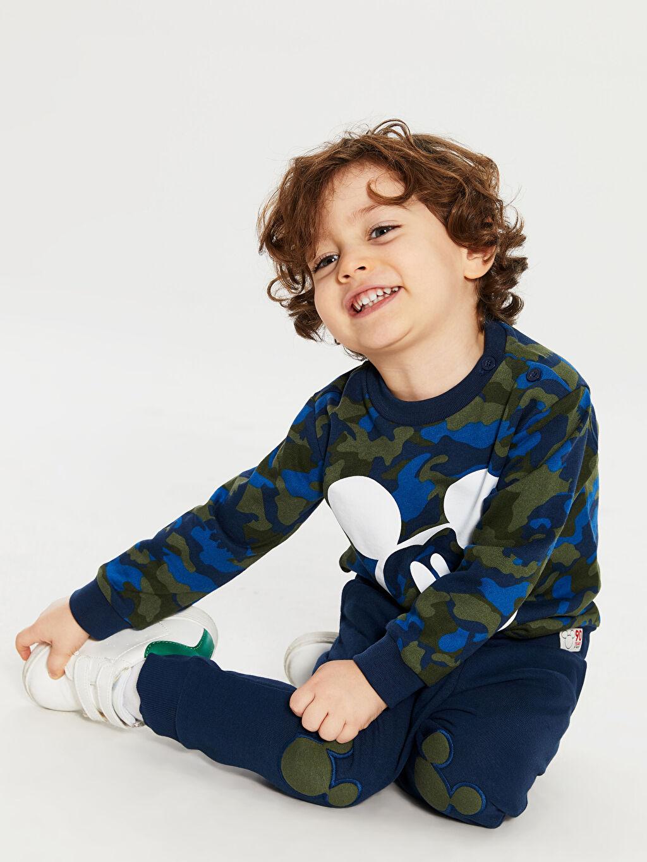 %100 Pamuk %85 Pamuk %15 Polyester Uzun Kol %100 Pamuk Takım Mickey Mouse Penye Standart Baskılı Erkek Bebek Sweatshirt ve Pantolon