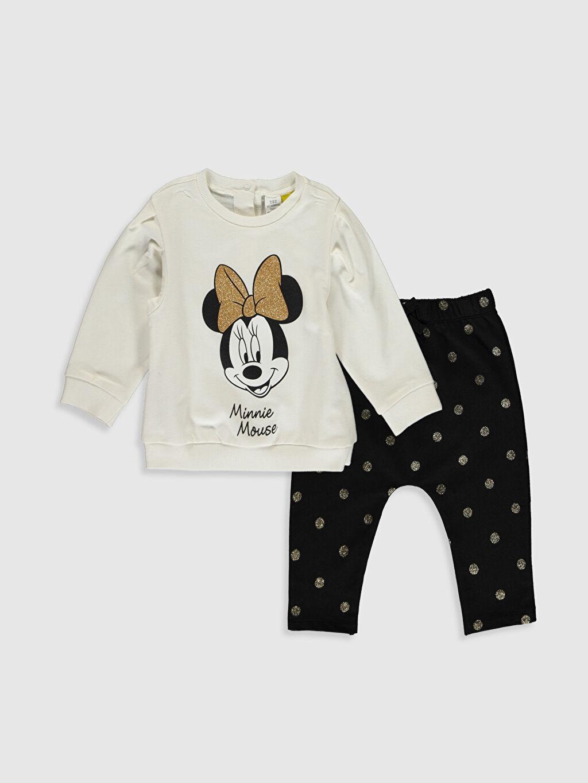Beyaz Kız Bebek Minnie Mouse Baskılı Sweatshirt ve Pantolon 9W9174Z1 LC Waikiki