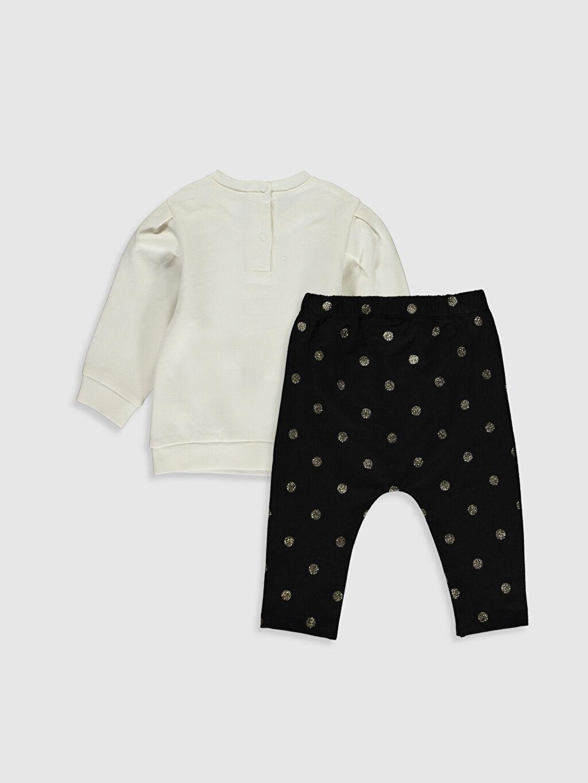 %96 Pamuk %4 Elastan %96 Pamuk %4 Elastan Takım İnce Sweatshirt Kumaşı Kız Bebek Minnie Mouse Baskılı Sweatshirt ve Pantolon