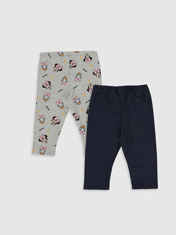 %70 Pamuk %27 Polyester %3 Elastan Pantolon İnce Sweatshirt Kumaşı Kız Bebek Disney Baskılı Pantolon 2'li