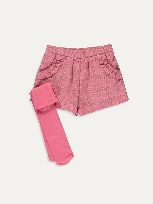 Pembe Kız Bebek Çizgili Şort ve Külotlu Çorap 9WH060Z1 LC Waikiki