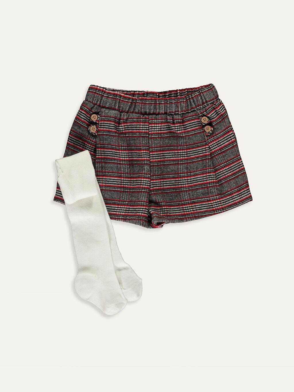 Kırmızı Kız Bebek Ekose Şort ve Külotlu Çorap 2'li 9WH215Z1 LC Waikiki