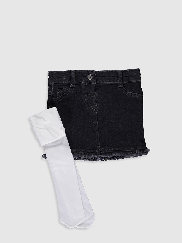 Antrasit Kız Bebek Jean Etek ve Külotlu Çorap 9WH961Z1 LC Waikiki